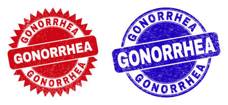 Round and rosette GONORRHEA seal stamps. Flat vector scratched seal stamps with GONORRHEA title inside round and sharp rosette shape, in red and blue colors. Rubber imitations with unclean surface,