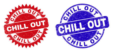 Round and rosette CHILL OUT seals. Flat vector textured seals with CHILL OUT phrase inside round and sharp rosette form, in red and blue colors. Imprints with scratched texture, on a white background.