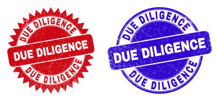 Round and rosette DUE DILIGENCE seal stamps. Flat vector textured seal stamps with DUE DILIGENCE slogan inside round and sharp rosette shape, in red and blue colors.
