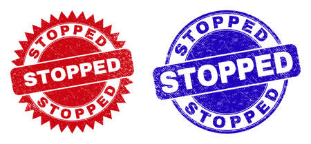 Round and rosette STOPPED watermarks. Flat vector scratched watermarks with STOPPED text inside round and sharp rosette form, in red and blue colors. Watermarks with corroded surface, Ilustración de vector