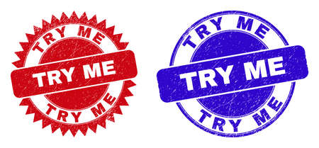 Round and rosette TRY ME watermarks. Flat vector scratched watermarks with TRY ME slogan inside round and sharp rosette shape, in red and blue colors. Watermarks with grunge texture, Vector Illustration