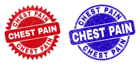 Round and rosette CHEST PAIN seals. Flat vector scratched seals with CHEST PAIN slogan inside round and sharp rosette form, in red and blue colors. Rubber imitations with corroded surface, Vector Illustration