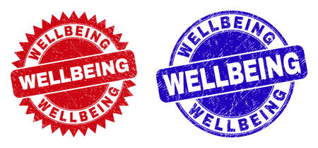 Round and rosette WELLBEING seal stamps. Flat vector grunge stamps with WELLBEING caption inside round and sharp rosette form, in red and blue colors. Imprints with corroded style,