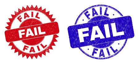 Round and rosette FAIL seals. Flat vector distress seals with FAIL title inside round and sharp rosette form, in red and blue colors. Watermarks with distress style, on a white background. Vektorové ilustrace