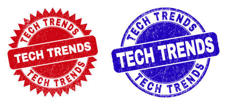 Round and rosette TECH TRENDS watermarks. Flat vector grunge stamps with TECH TRENDS slogan inside round and sharp rosette form, in red and blue colors. Watermarks with corroded surface,
