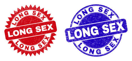 Rounded and rosette LONG SEX watermarks. Flat vector distress seal stamps with LONG SEX text inside round and sharp rosette shape, in red and blue colors. Watermarks with distress texture,