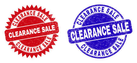 Round and rosette CLEARANCE SALE stamps. Flat vector grunge seal stamps with CLEARANCE SALE message inside round and sharp rosette shape, in red and blue colors. Imprints with unclean style,