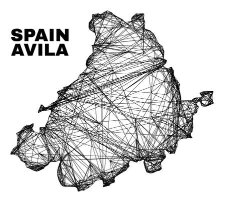 carcass irregular mesh Avila Province map. Abstract lines are combined into Avila Province map. Linear carcass 2D net in vector format.