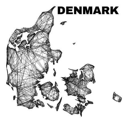 Wire frame irregular mesh Denmark map. Abstract lines are combined into Denmark map. Wire frame 2D network in vector format. Vector structure is created for Denmark map using intersected random lines.