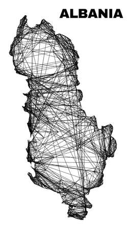 Wire frame irregular mesh Albania map. Abstract lines form Albania map. Wire carcass flat network in vector format. Vector carcass is created for Albania map using crossing random lines.