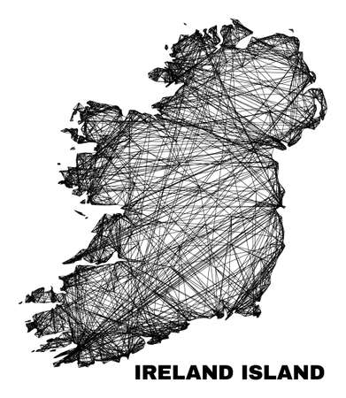 Wire frame irregular mesh Ireland Island map. Abstract lines are combined into Ireland Island map. Wire carcass 2D network in vector format.