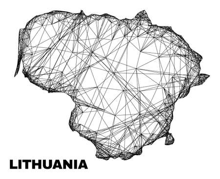carcass irregular mesh Lithuania map. Abstract lines form Lithuania map. Linear carcass flat network in vector format. Vector carcass is created for Lithuania map using crossing random lines.