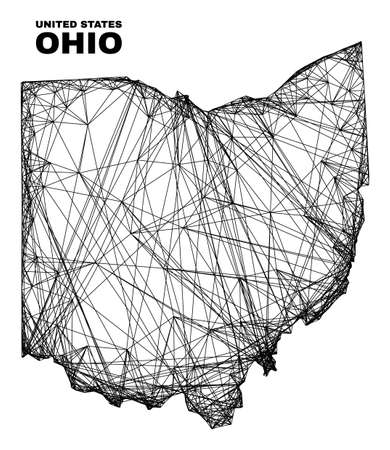 Net irregular mesh Ohio State map. Abstract lines form Ohio State map. Wire carcass flat net in vector format. Vector carcass is created for Ohio State map using crossing random lines.