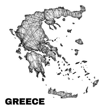 Wire frame irregular mesh Greece map. Abstract lines form Greece map. Wire frame 2D network in vector format. Vector carcass is created for Greece map using crossing random lines.