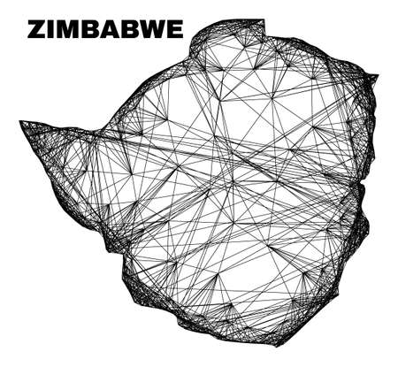 Net irregular mesh Zimbabwe map. Abstract lines are combined into Zimbabwe map. Wire carcass 2D net in vector format. Vector carcass is created for Zimbabwe map using intersected random lines.