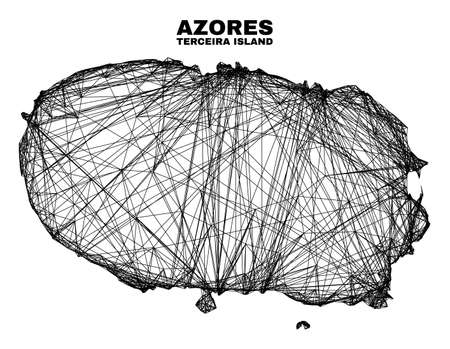 Wire frame irregular mesh Terceira Island map. Abstract lines form Terceira Island map. Wire frame flat net in vector format. 일러스트