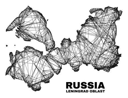 Wire frame irregular mesh Leningrad Region map. Abstract lines form Leningrad Region map. Wire frame flat network in vector format. 일러스트