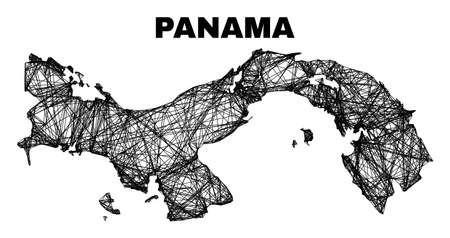 Network irregular mesh Panama map. Abstract lines form Panama map. Wire carcass 2D net in vector format. Vector carcass is created for Panama map using crossing random lines.