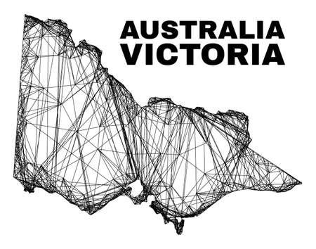 Wire frame irregular mesh Australian Victoria map. Abstract lines form Australian Victoria map. Wire carcass flat network in vector format.