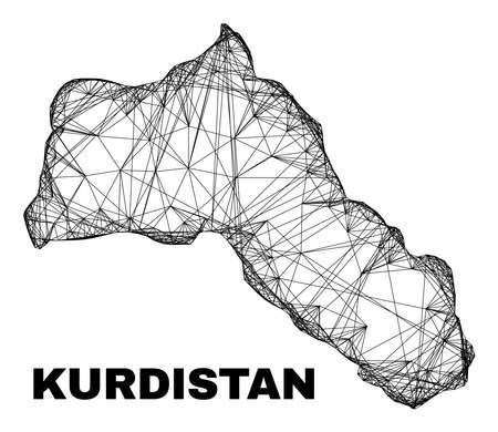 Network irregular mesh Kurdistan map. Abstract lines are combined into Kurdistan map. Wire carcass 2D network in vector format. 일러스트