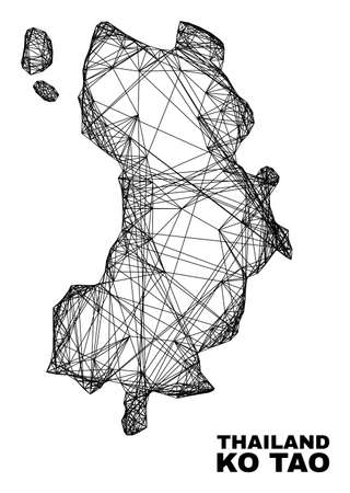 Net irregular mesh Ko Tao map. Abstract lines are combined into Ko Tao map. Wire carcass flat net in vector format. Vector carcass is created for Ko Tao map using intersected random lines.