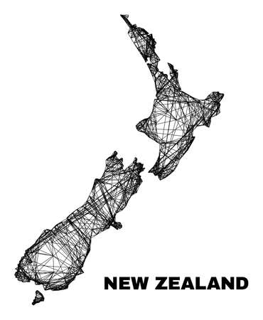 carcass irregular mesh New Zealand map. Abstract lines form New Zealand map. Linear carcass 2D network in vector format. Vector structure is created for New Zealand map using intersected random lines. 일러스트