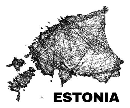 Wire frame irregular mesh Estonia map. Abstract lines are combined into Estonia map. Wire frame 2D net in vector format. Vector structure is created for Estonia map using intersected random lines. 일러스트