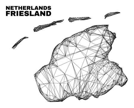 Net irregular mesh Friesland Province map. Abstract lines form Friesland Province map. Linear carcass flat net in vector format.