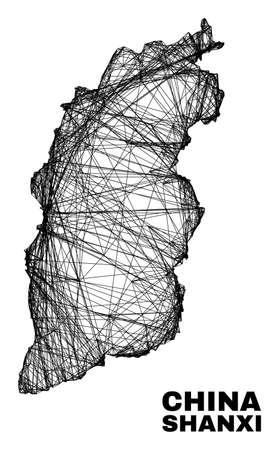 carcass irregular mesh Shanxi Province map. Abstract lines form Shanxi Province map. Linear carcass flat network in vector format.