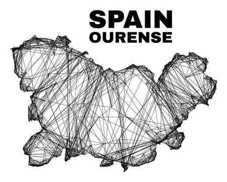 Net irregular mesh Ourense Province map. Abstract lines form Ourense Province map. Wire carcass 2D net in vector format. 일러스트
