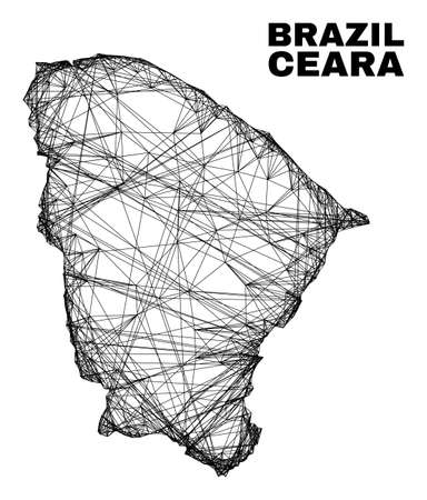 Wire frame irregular mesh Ceara state map. Abstract lines form Ceara state map. Wire carcass 2D network in vector format. Vector model is created for Ceara state map using crossing random lines.