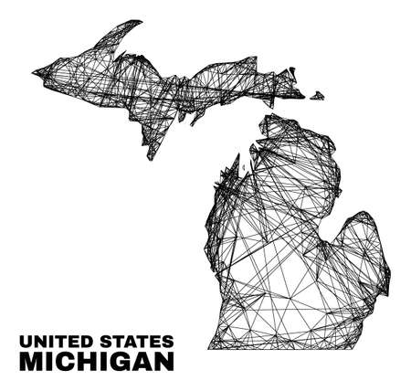 carcass irregular mesh Michigan State map. Abstract lines form Michigan State map. Wire carcass 2D network in vector format.