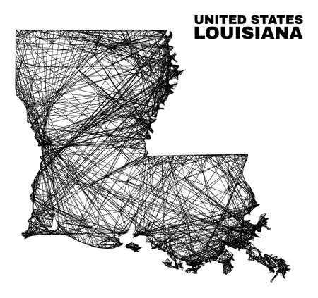 Net irregular mesh Louisiana State map. Abstract lines are combined into Louisiana State map. Linear frame flat net in vector format.