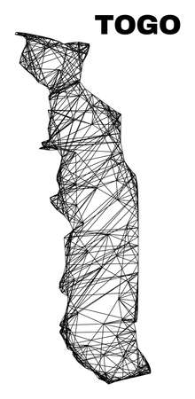 Net irregular mesh Togo map. Abstract lines form Togo map. Linear carcass 2D net in vector format. Vector carcass is created for Togo map using crossing random lines.