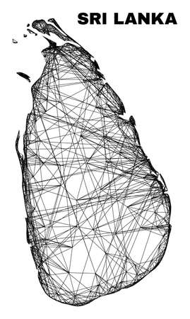 Wire frame irregular mesh Sri Lanka map. Abstract lines are combined into Sri Lanka map. Wire carcass 2D network in vector format.