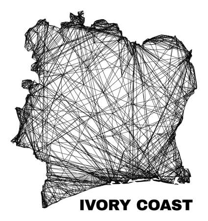 Network irregular mesh Ivory Coast map. Abstract lines are combined into Ivory Coast map. Linear carcass 2D network in vector format.