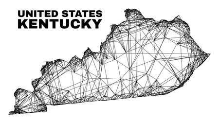 carcass irregular mesh Kentucky State map. Abstract lines are combined into Kentucky State map. Wire carcass 2D network in vector format.