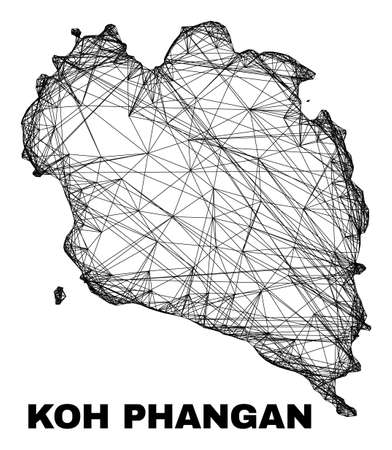 carcass irregular mesh Koh Phangan map. Abstract lines are combined into Koh Phangan map. Linear carcass 2D network in vector format.