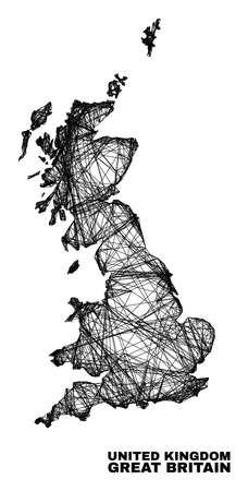carcass irregular mesh Great Britain map. Abstract lines are combined into Great Britain map. Wire carcass 2D network in vector format. 일러스트