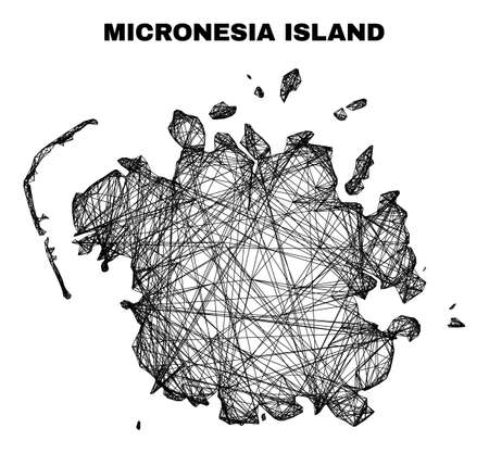 carcass irregular mesh Micronesia island map. Abstract lines are combined into Micronesia island map. Wire frame flat net in vector format. 일러스트