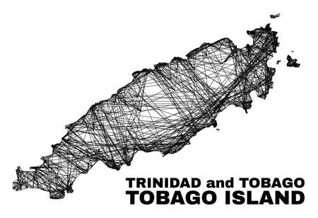 Net irregular mesh Tobago Island map. Abstract lines form Tobago Island map. Wire carcass 2D net in vector format. Vector carcass is created for Tobago Island map using crossing random lines.