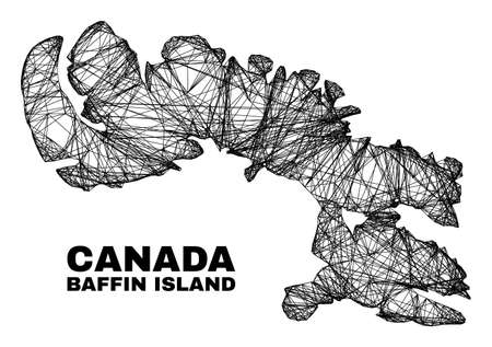 Net irregular mesh Baffin Island map. Abstract lines form Baffin Island map. Wire frame 2D net in vector format. Vector model is created for Baffin Island map using intersected random lines.