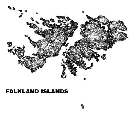 Network irregular mesh Falkland Islands map. Abstract lines are combined into Falkland Islands map. Wire frame 2D network in vector format.