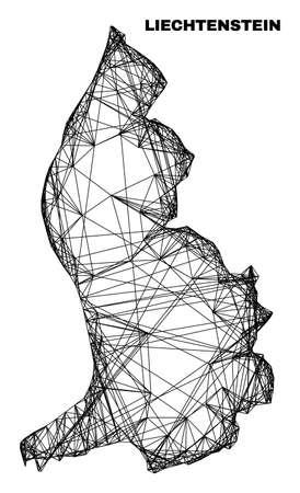 Wire frame irregular mesh Liechtenstein map. Abstract lines form Liechtenstein map. Linear frame 2D network in vector format.