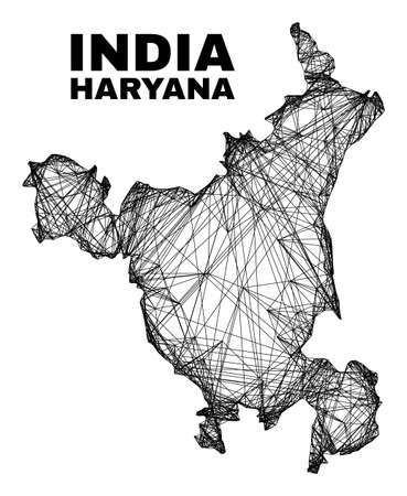 Wire frame irregular mesh Haryana State map. Abstract lines are combined into Haryana State map. Wire carcass flat network in vector format.