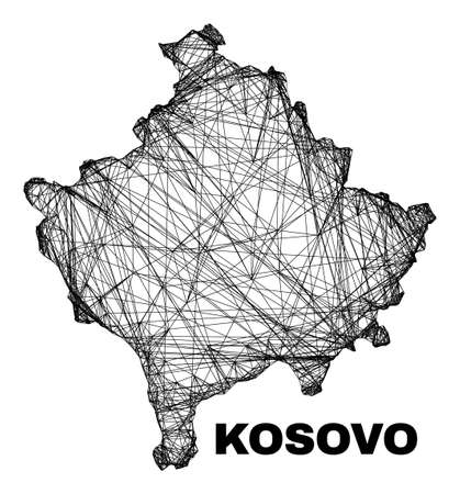 Wire frame irregular mesh Kosovo map. Abstract lines form Kosovo map. Linear carcass flat network in vector format. Vector carcass is created for Kosovo map using crossing random lines.