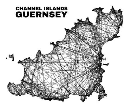 Wire frame irregular mesh Guernsey Island map. Abstract lines are combined into Guernsey Island map. Wire frame flat network in vector format.