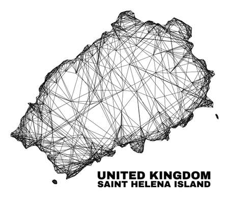 Network irregular mesh Saint Helena Island map. Abstract lines are combined into Saint Helena Island map. Linear carcass 2D network in vector format. 일러스트