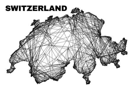 carcass irregular mesh Switzerland map. Abstract lines are combined into Switzerland map. Linear carcass flat net in vector format.