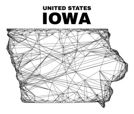 Network irregular mesh Iowa State map. Abstract lines form Iowa State map. Linear frame flat network in vector format. Vector carcass is created for Iowa State map using crossing random lines.